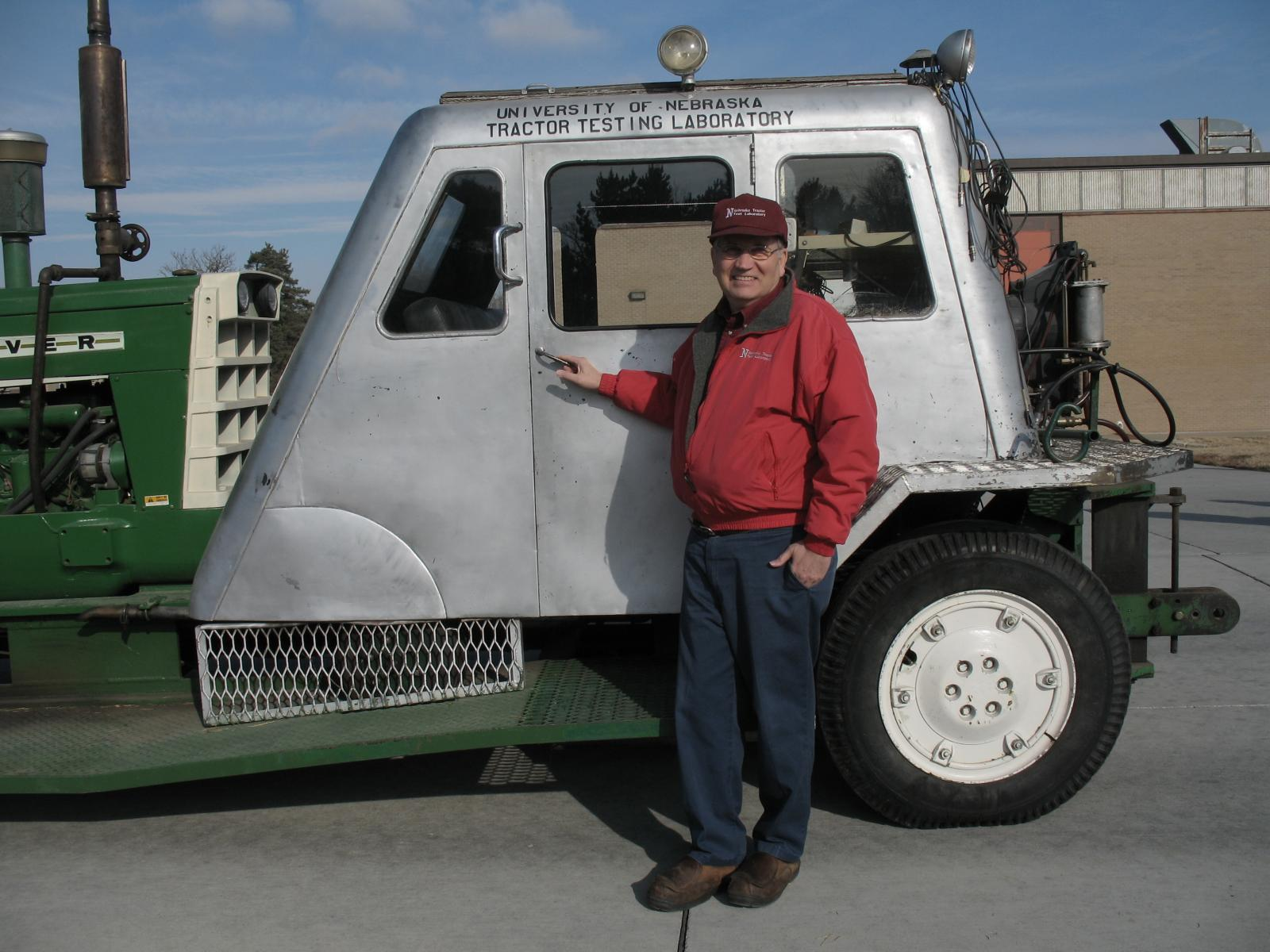 Brent Sampson with a historical tractor test car